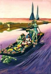 """Martian Canal"" - Virgil Finlay - Fantastic Universe, Oct 1957"