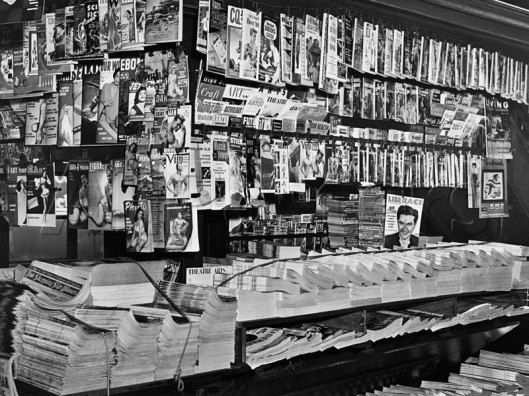 Magazine stand, Sept 1954. The end of the pulp era, and the reign of the digests; I can spot Fantastic, If, Imagination, and several other SF mags on there.