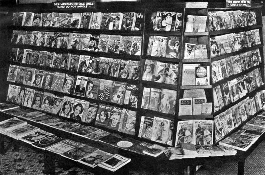 Pulp magazine and news stand, June, 1935.