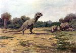 Tyrannosaurus confronts a family of Triceratops, 1919.