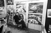 Giger working on designs for Alejandro Jodorowsky's cancelled adaptation of Dune.