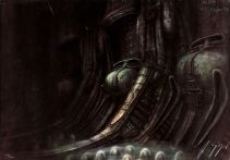 The interior of the wrecked spaceship; Alien concept art.