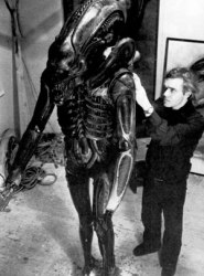 On the set of Alien, with the Alien suit.