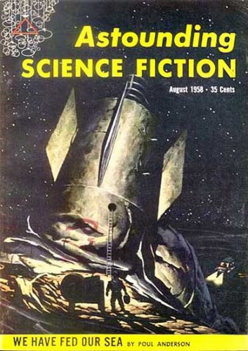 Astounding Science Fiction - August 1958 - illo by H. R. Van Dongen.